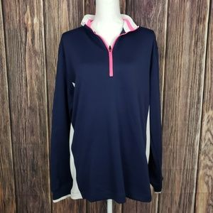 Nike Navy and Pink Half Zip Pullover